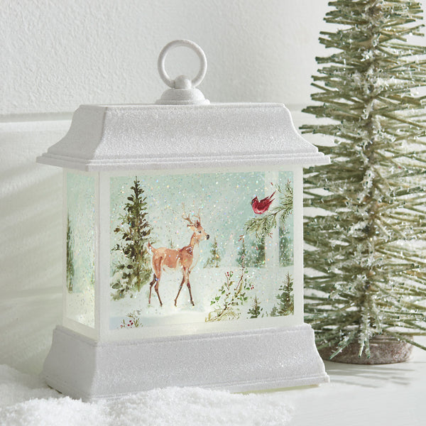 8.5 Inch Lighted Woodland Animal Water Lantern In Swirling Glitter - 3919157 - NEW 2019-Lighted Water Lanterns