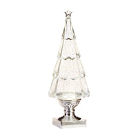 13.75 Inch Clear Acrylic Lighted Tree Water Lantern Snow Globe - Silver Base - 3919212