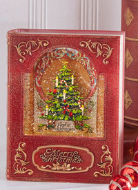8.5 Inch Christmas Tree Lighted Water Book Lighted Water Lantern In Swirling Glitter - 3940500 - NEW 2019-RAZ