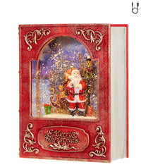 8.5 Inch Santa Lighted Water Book Lighted Water Lantern In Swirling Glitter - 3940501 - NEW 2019-RAZ