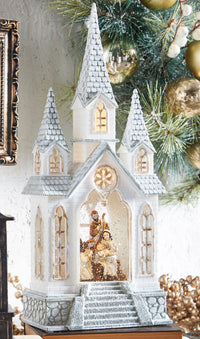 16 Inch Nativity Lighted Water Church Swirling Glitter With Timer - 3940507