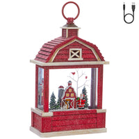 Santa Lighted Water Barn Lantern Battery Operated In Swirling Glitter - 3940508 - NEW 2019-RAZ