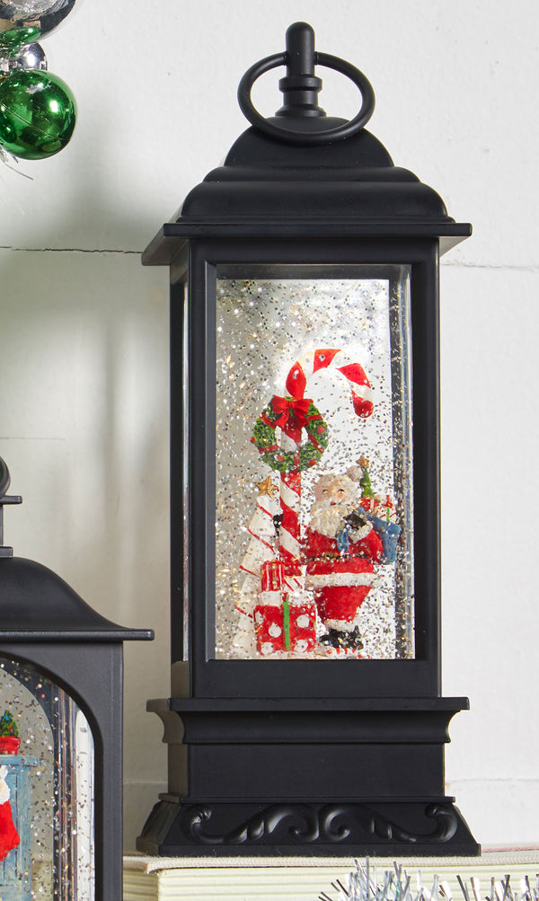 11 Inch Santa And Candy Cane Lighted Water Lantern With Swirling Glitter - 3940510 - NEW 2019