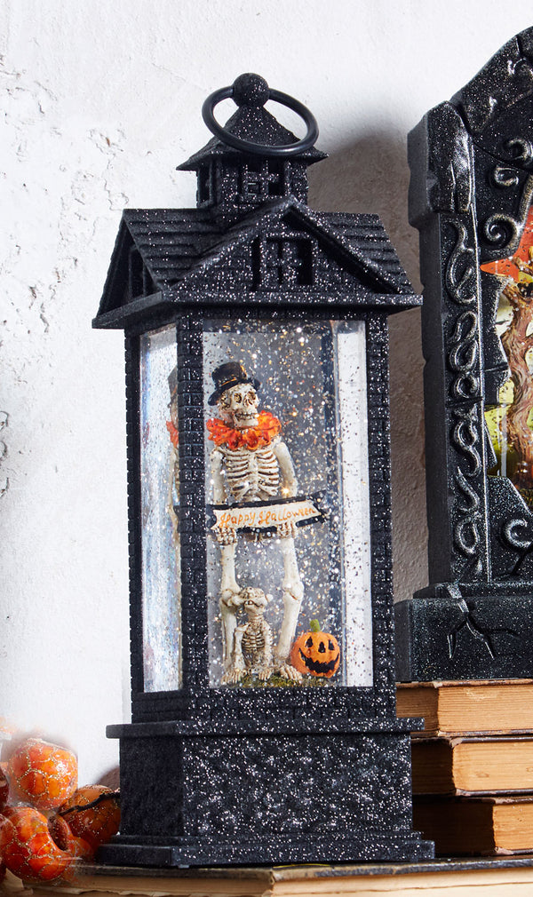 12 Inch Skeleton With Dog Lighted Water Lantern Battery Operated With Timer - 3940513 - NEW 2019