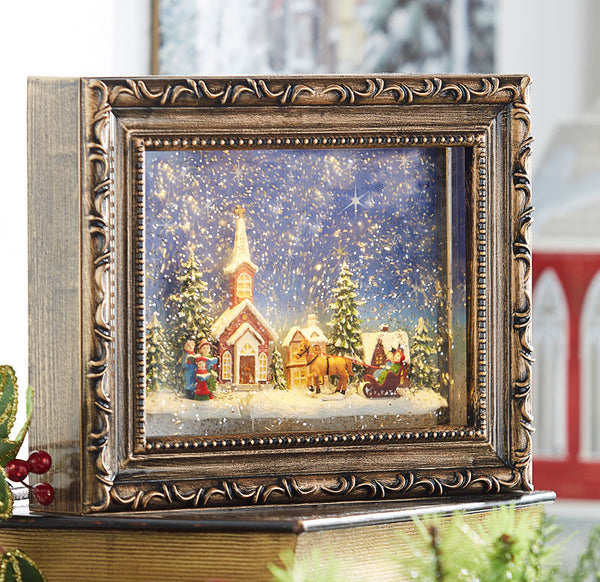 9.5 Inch Town Scene Lighted Water Picture Frame Battery Operated In Swirling Glitter - 3940517 - NEW 2019-RAZ