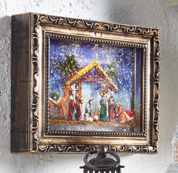 9.5 Inch Nativity Lighted Water Picture Frame Battery Operated In Swirling Glitter - 3940523 - NEW 2019