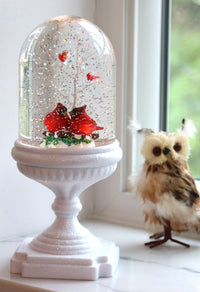 Lighted Cardinals Musical Snow Globe On White Glitter Pedestal - 2429020-4-cardinals-Gerson