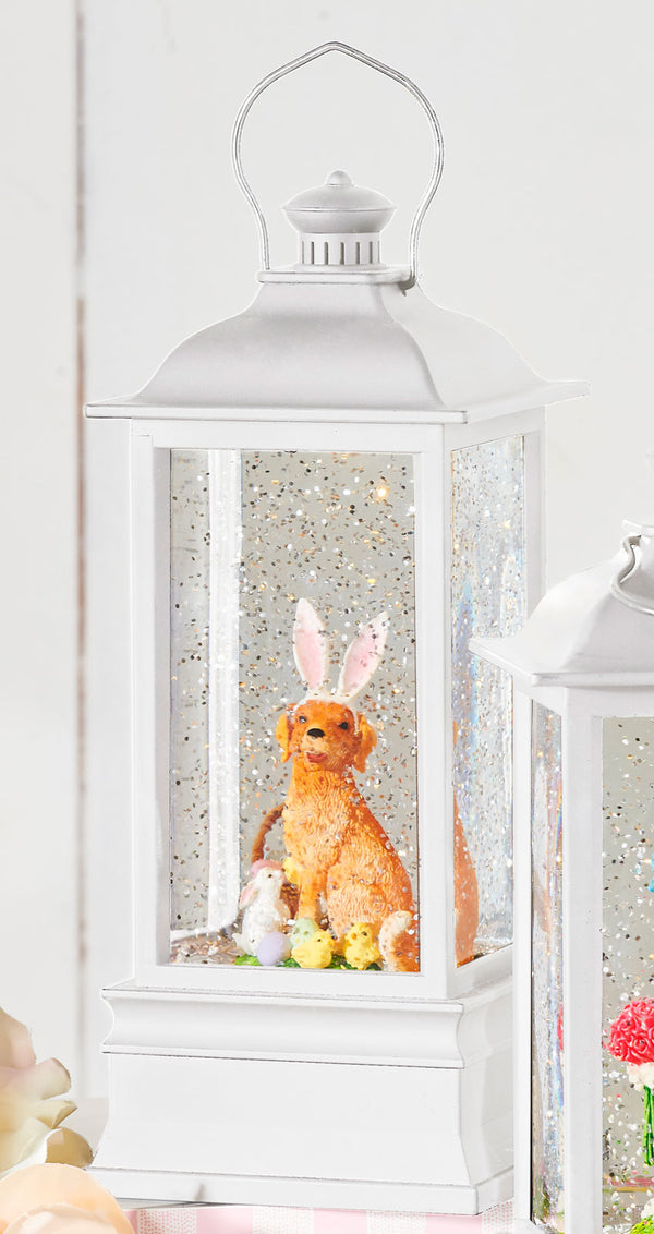 Dog With Bunny Ears Lighted Water Lantern Battery Operated With Timer In Swirling Glitter - 4000757