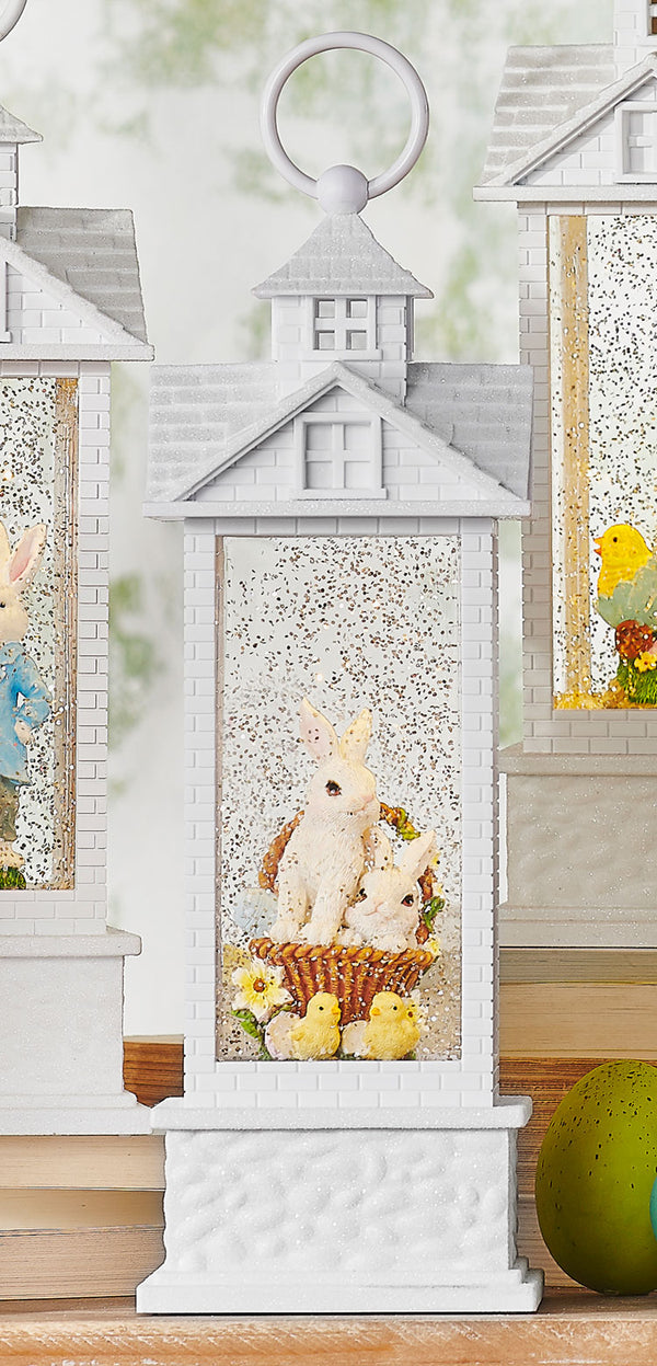 11.75 Inch Bunnies In A Basket Lighted Gazebo Water Lantern Battery Operated With Timer - 4000764