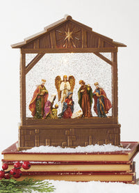 10 Inch Lighted Snow Globe Nativity Musical Lighted Water Creche With Swirling Glitter - 4000769 - NEW 2020