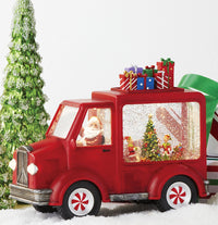 Battery Operated Lighted Water Truck Santa And Elves In Swirling Glitter - 4000775 - NEW 2020