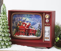 "10"" Santa Lighted Polar Express Water Television Musical Lantern With Swirling Glitter - 4000777 - NEW 2020"