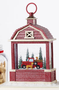 "11"" Red Truck With Dogs Lighted Water Globe Barn Battery Operated In Swirling Glitter - 4000779 - NEW 2020"