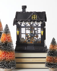 10 Inch Halloween Lighted Water Lantern Witch On Bicycle with Swirling Glitter - 4000788