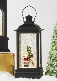 8.75 Inch Santa And Snowman Lighted Water Lantern With Swirling Glitter - 4000790 - NEW 2020