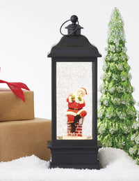 11 Inch Santa Sitting On The Chimney Lighted Water Lantern With Swirling Glitter - 4016318 - NEW 2020