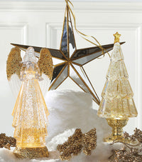 13.75 Inch Acrylic Lighted Tree With Gold Glitter Water Lantern  - Gold Base - 3919214