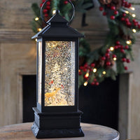 Forest Animals Lighted Water Lantern In Swirling Glitter Battery Operated With Timer - 72821