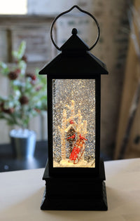 Bird House With Sled and Cardinals Lighted Water Lantern In Swirling Glitter - Timer - 72823
