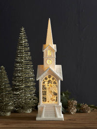 16.25 Inch Angel Lighted Water Church In Swirling Glitter - Timer 72827