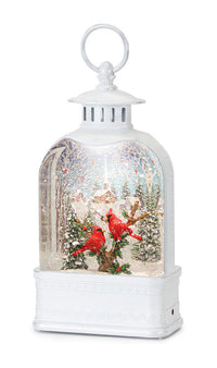 Lighted Cardinals Snow Globe In White Water Lantern - 80773  - NEW 2020 -USB Cord Included