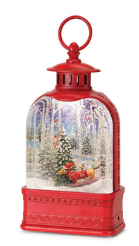 Sledding Dog Snow Globe In White Water Lantern - 80797  - NEW 2020 -USB Cord Included