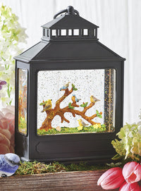 Birds On Branch Lighted Glitter Water Lantern Battery Operated - 4116103