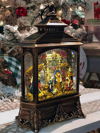 Nativity Scene Antique Bronze Lighted Water Lantern With Swirling Glitter - Plays Silent Night 2535390-blue