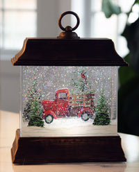 Red Truck With Cardinals Winter Scene Lighted Water Lantern In Swirling Glitter - 2535230-truck