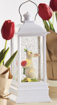 Rabbit With Butterfly Lighted Water Lantern Battery Operated With Timer In Swirling Glitter - 4000761