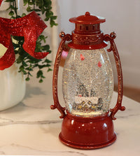 Red Hurricane With Log Cabin Lighted Water Lantern With Swirling Glitter With Timer - 2429050-cabin