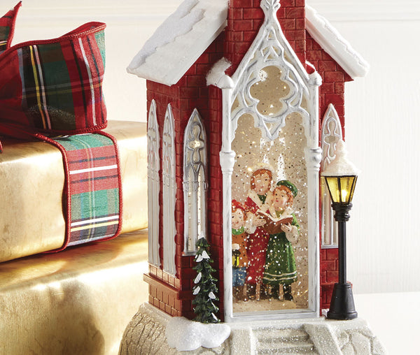 18 5 Inch Red Church With Carolers Lighted Water Lantern