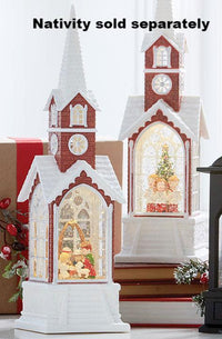 15.5 Inch Lighted Church with Choir Water Lantern With Swirling Glitter - 3840514