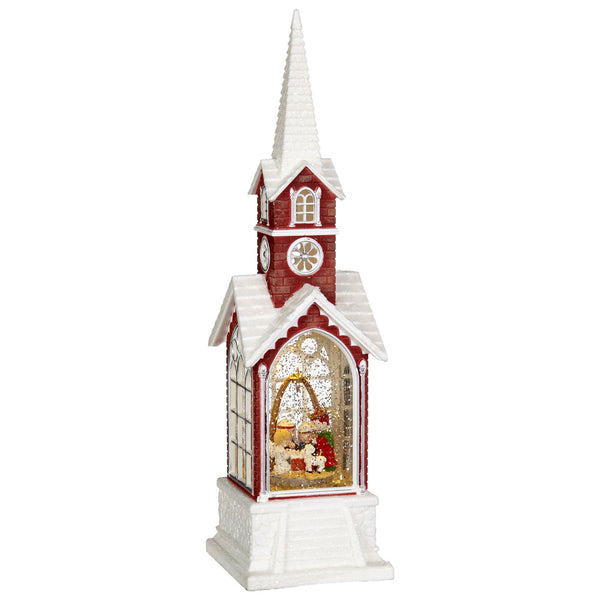 15.5 Inch Church with Nativity Lighted Water Lantern With Swirling Glitter - 3840518
