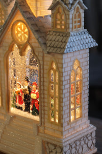 16 Inch Lighted Water Church With Carolers In Swirling Glitter With Timer - 2498960-carolers