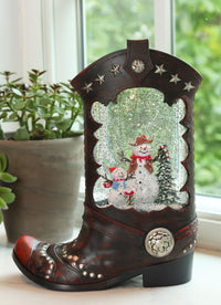 Cowboy Boot Lighted Water Lantern With Frosty The Snowman In Swirling Glitter - 2548310 - Snowman
