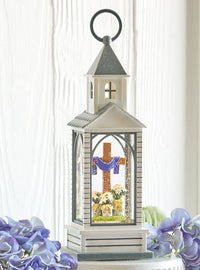 15.25 Inch Cross And Lilies Lighted Water Chapel Water Lantern Battery Operated With Timer - 4116080