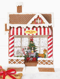 Lighted Water Dog Barkery Musical Lighted Water Lantern Gingerbread House - 4000785