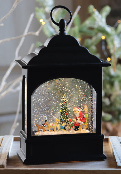 11 Inch Santa And Dogs Lighted Snow Globe In Swirling