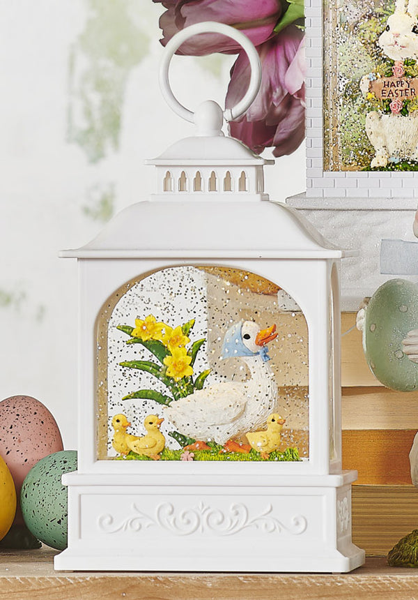 8.5 Inch Duck Family Water Lantern Battery Operated With Timer In Swirling Glitter - 4000759