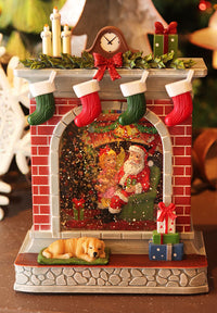 Fireplace Lighted Water Lantern With Santa Holiday Design In Swirling Glitter - 2548380-Santa