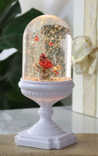 Lighted Musical Snow Globe With Cardinals On White Glitter Pedestal - 2429020-3-cardinals-Gerson