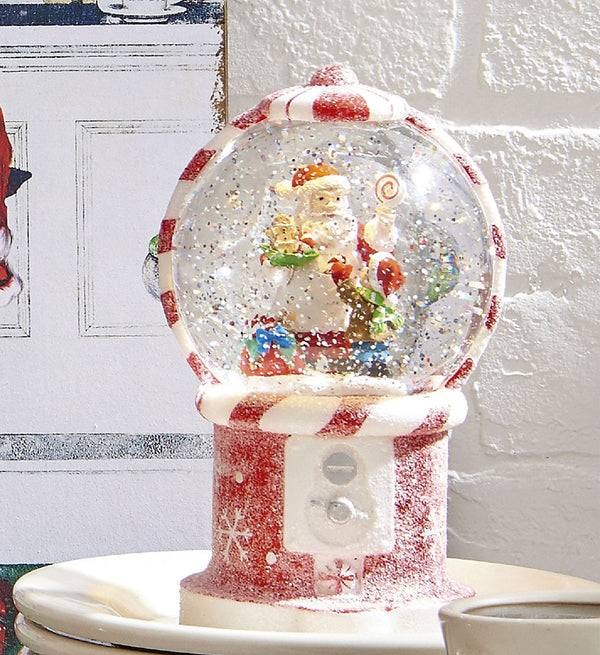 7.5 Inch Santa In Gumball Machine Lighted Water Globe With Swirling Glitter - 3800771