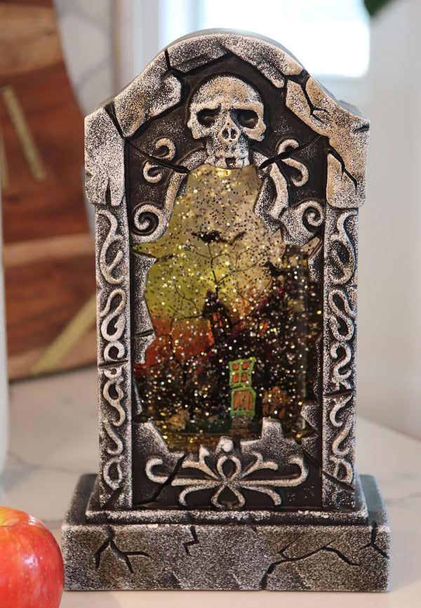 11 Inch Tombstone Haunted House Lighted Water House With Swirling Glitter - 2436630-HOUSE-Gerson