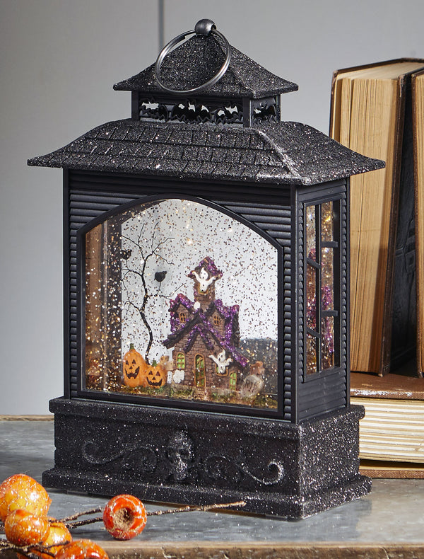 11 Inch Halloween Lighted Water Lantern Haunted House with Swirling Glitter - 3800784