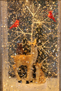 10.5 Inch Deer With Owl, Fox And Cardinals White Lighted Water Lantern With Swirling Glitter - 2497550 -DEER