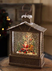 10 Inch Santa In a Log Cabin Lighted Water Lantern with Swirling Glitter - 4040511 - NEW 2020
