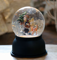 Lighted Child With Dog Glitter Traditional Style Water Globe Battery Operated - 72029