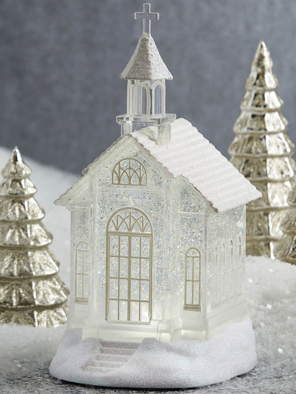 10.5 Inch Lighted Church Water Lantern Snow Globe Swirling Glitter With Timer - 3919039