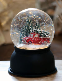 Lighted Glitter Traditional Style Water Globe With Red Truck and Christmas Tree Battery Operated - 72032